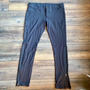 Gray Express Exposed Zipper Pants